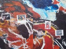 Mathieu Dafflon, En territoire ennemi (Waste Session), 2015, huile sur toile (détail), 284 x 255 cm, coll. de l'artiste