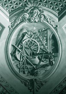 Allégorie de l'agriculture Angle Sud du plafond de la Salle des Abeilles, Palais de l'Athénée peint par Jean-Jacques Dériaz (1814-1890)