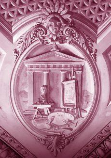 Allégorie des beaux-arts Angle Ouest du plafond de la Salle des Abeilles, Palais de l'Athénée peint par Jean-Jaques Dériaz (1814-1890)