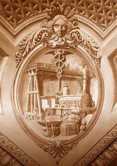 Allégorie de l'industrie et du commerce Angle Nord du plafond de la Salle des Abeilles, Palais de l'Athénée peint par Jean-Jacques Dériaz (1814-1890)